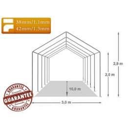 3m széles BIGTENT PVC STAND LÁNGÁLLÓ sátor, több méretben FEHÉR