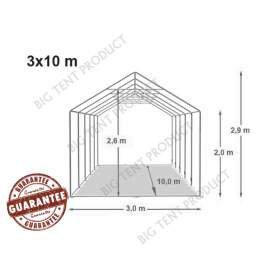 3m széles BIGTENT PROF PVC LÁNGÁLLÓ sátor, több méretben FEHÉR