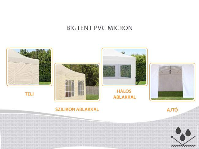 3m Bigtent MIKRON pavilon oldalfal szilikon ablakos