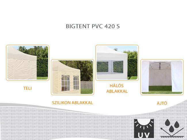4,5m Bigtent PVC 420S pavilon oldalfal ajtós