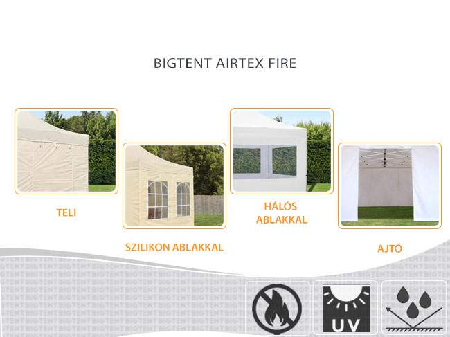 6m Bigtent AIRTEX lángálló pavilon oldalfal ajtós