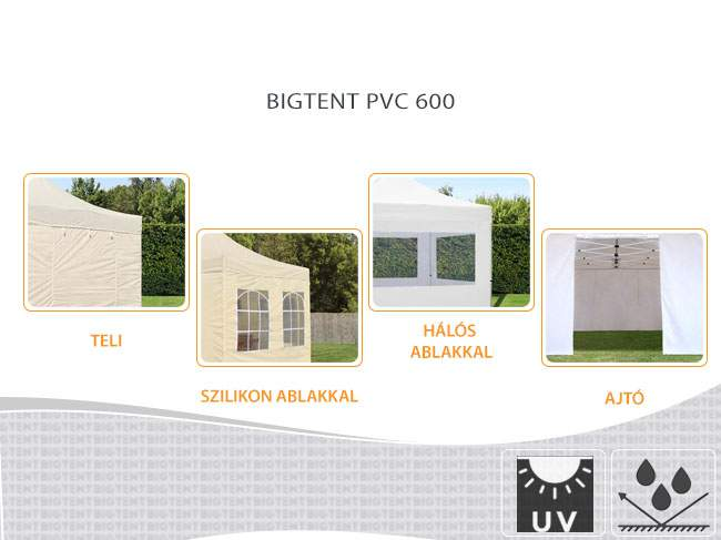 6m Bigtent matt PVC600 pavilon oldalfal szilikon ablakos