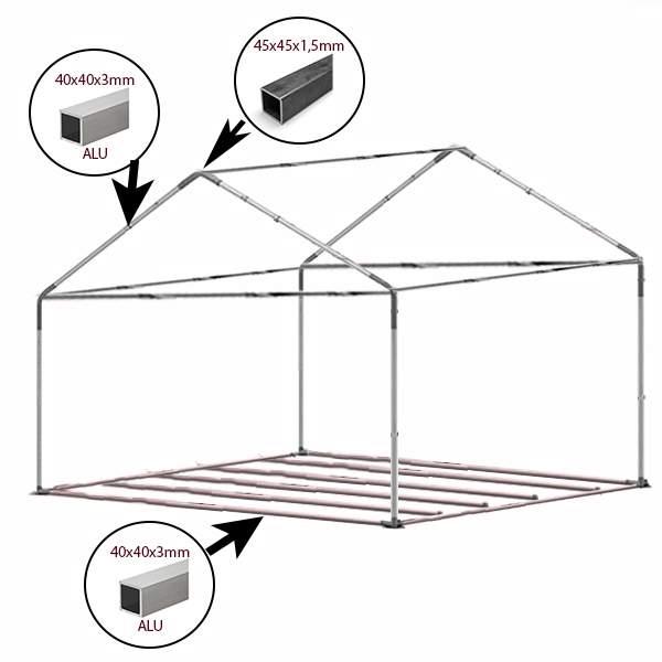 4x5m alu rendezvénysátor PVC tetővel, padozat vázzal