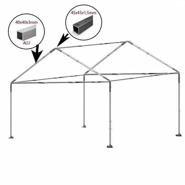 4x5m alu rendezvénysátor lángálló PVC tetővel