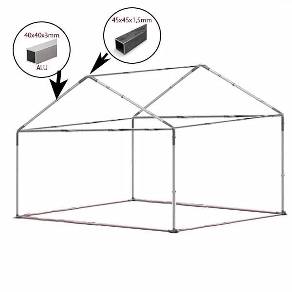 4x5m alu rendezvénysátor PVC tetővel alsó kerettel
